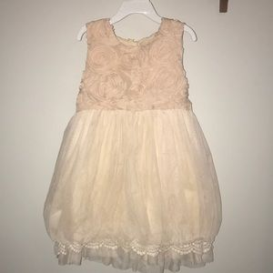 Cream girls dress W/Lace & Rose detail.